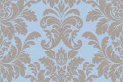 402849 cikkszámú tapéta.Barokk-klasszikus,csillámos,különleges felületű,barna,kék,lemosható,vlies tapéta