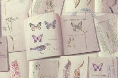 51151903 cikkszámú tapéta.állatok,feliratos-számos,különleges felületű,rajzolt,kék,lila,pink-rózsaszín,piros-bordó,szürke,súrolható,vlies tapéta