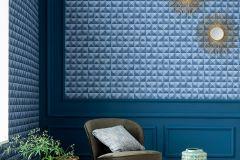 51181201 cikkszámú tapéta.3d hatású,különleges felületű,kék,súrolható,vlies tapéta