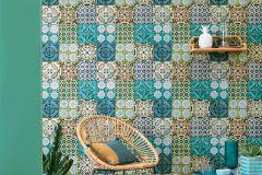 51181401 cikkszámú tapéta.Konyha-fürdőszobai,különleges felületű,marokkói ,arany,kék,szürke,türkiz,zöld,súrolható,vlies tapéta