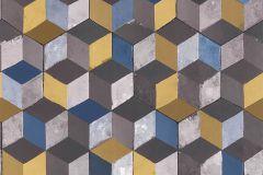 51181502 cikkszámú tapéta.3d hatású,különleges felületű,barna,kék,sárga,szürke,súrolható,vlies tapéta