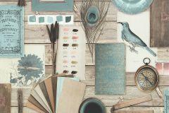 51185404 cikkszámú tapéta.állatok,fa hatású-fa mintás,feliratos-számos,különleges felületű,barna,bézs-drapp,kék,szürke,súrolható,vlies tapéta
