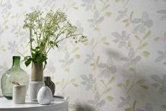 6347-07 cikkszámú tapéta.Különleges felületű,virágmintás,fehér,szürke,zöld,lemosható,vlies tapéta