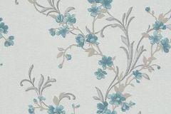 6933-08 cikkszámú tapéta.Virágmintás,kék,szürke,türkiz,lemosható,vlies tapéta