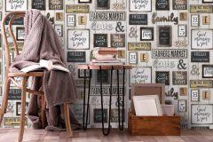 6364-02 cikkszámú tapéta.Fa hatású-fa mintás,feliratos-számos,különleges felületű,retro,barna,bézs-drapp,szürke,lemosható,illesztés mentes,vlies tapéta