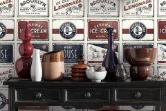 6365-06 cikkszámú tapéta.Feliratos-számos,különleges felületű,rajzolt,retro,fehér,kék,piros-bordó,szürke,lemosható,vlies tapéta