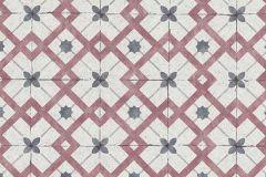 6366-06 cikkszámú tapéta.Geometriai mintás,konyha-fürdőszobai,különleges felületű,kék,piros-bordó,lemosható,vlies tapéta