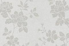 1761-01 cikkszámú tapéta.Különleges felületű,metál-fényes,virágmintás,ezüst,gyöngyház,vlies tapéta