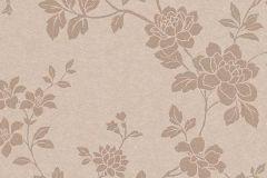 1761-02 cikkszámú tapéta.Különleges felületű,metál-fényes,virágmintás,bézs-drapp,vlies tapéta