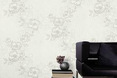 41002-10 cikkszámú tapéta.Különleges felületű,rajzolt,virágmintás,gyöngyház,szürke,gyengén mosható,vlies tapéta