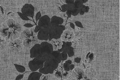 41002-30 cikkszámú tapéta.Különleges felületű,metál-fényes,rajzolt,virágmintás,ezüst,fekete,szürke,gyengén mosható,vlies tapéta