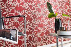 5943-06 cikkszámú tapéta.Rajzolt,retro,természeti mintás,virágmintás,bézs-drapp,piros-bordó,lemosható,vlies tapéta