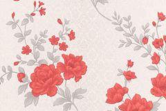 5989-06 cikkszámú tapéta.Barokk-klasszikus,különleges felületű,természeti mintás,virágmintás,fehér,piros-bordó,szürke,lemosható,vlies tapéta