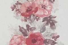 6427-06 cikkszámú tapéta.Rajzolt,retro,természeti mintás,virágmintás,barna,bézs-drapp,fehér,pink-rózsaszín,piros-bordó,szürke,lemosható,illesztés mentes,vlies tapéta