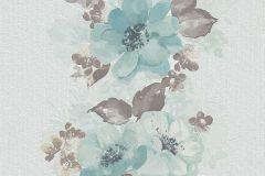6427-07 cikkszámú tapéta.Különleges felületű,rajzolt,retro,természeti mintás,virágmintás,barna,bézs-drapp,kék,szürke,türkiz,lemosható,illesztés mentes,vlies tapéta