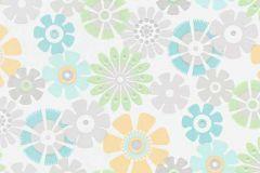 6448-07 cikkszámú tapéta.Természeti mintás,virágmintás,gyerek,különleges felületű,retro,fehér,kék,narancs-terrakotta,szürke,türkiz,zöld,lemosható,vlies tapéta