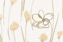 6453-02 cikkszámú tapéta.Gyerek,rajzolt,retro,természeti mintás,virágmintás,barna,bézs-drapp,vajszínű,lemosható,vlies tapéta