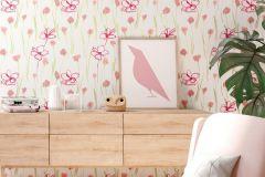 6453-17 cikkszámú tapéta.Gyerek,különleges felületű,rajzolt,retro,természeti mintás,virágmintás,narancs-terrakotta,piros-bordó,vajszínű,zöld,lemosható,vlies tapéta
