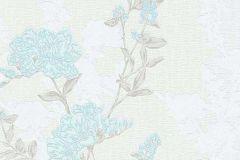 6990-18 cikkszámú tapéta.Különleges felületű,rajzolt,retro,természeti mintás,virágmintás,fehér,kék,szürke,zöld,lemosható,vlies tapéta