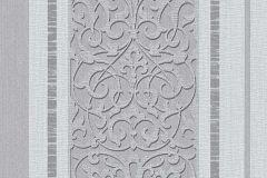6992-47 cikkszámú tapéta.Barokk-klasszikus,csíkos,különleges felületű,rajzolt,ezüst,szürke,lemosható,illesztés mentes,vlies tapéta