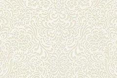 5413-02 cikkszámú tapéta.Barokk-klasszikus,különleges felületű,különleges motívumos,bézs-drapp,fehér,gyöngyház,lemosható,vlies tapéta