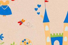 7347-08 cikkszámú tapéta.állatok,gyerek,rajzolt,bézs-drapp,fehér,kék,narancs-terrakotta,zöld,gyengén mosható,papír tapéta