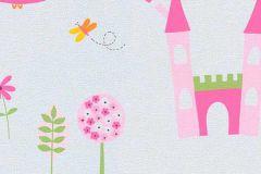 7347-17 cikkszámú tapéta.állatok,gyerek,rajzolt,lila,narancs-terrakotta,pink-rózsaszín,sárga,szürke,zöld,gyengén mosható,papír tapéta