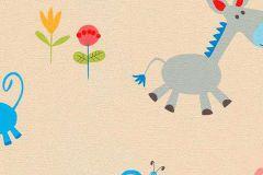 7348-08 cikkszámú tapéta.állatok,gyerek,rajzolt,bézs-drapp,kék,pink-rózsaszín,piros-bordó,sárga,szürke,zöld,gyengén mosható,papír tapéta