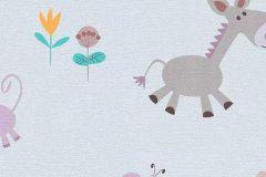 7348-09 cikkszámú tapéta.állatok,gyerek,rajzolt,pink-rózsaszín,sárga,szürke,zöld,gyengén mosható,papír tapéta