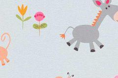 7348-17 cikkszámú tapéta.állatok,gyerek,rajzolt,kék,narancs-terrakotta,pink-rózsaszín,sárga,szürke,gyengén mosható,papír tapéta