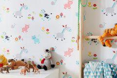 7348-18 cikkszámú tapéta.állatok,gyerek,rajzolt,kék,narancs-terrakotta,pink-rózsaszín,sárga,szürke,türkiz,zöld,gyengén mosható,papír tapéta