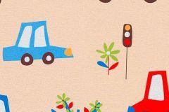 7349-08 cikkszámú tapéta.Gyerek,rajzolt,barna,bézs-drapp,kék,piros-bordó,sárga,zöld,gyengén mosható,papír tapéta