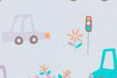 7349-09 cikkszámú tapéta.Gyerek,rajzolt,barna,kék,lila,narancs-terrakotta,szürke,gyengén mosható,papír tapéta
