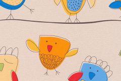 7350-08 cikkszámú tapéta.állatok,gyerek,rajzolt,bézs-drapp,kék,piros-bordó,sárga,zöld,gyengén mosható,papír tapéta