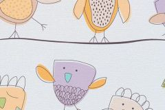 7350-09 cikkszámú tapéta.állatok,gyerek,rajzolt,barna,bézs-drapp,lila,sárga,szürke,türkiz,gyengén mosható,papír tapéta