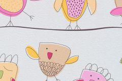 7350-17 cikkszámú tapéta.állatok,gyerek,rajzolt,narancs-terrakotta,pink-rózsaszín,sárga,szürke,zöld,gyengén mosható,papír tapéta