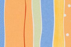 7351-08 cikkszámú tapéta.Csíkos,gyerek,pöttyös,fehér,kék,narancs-terrakotta,sárga,gyengén mosható,illesztés mentes,papír tapéta