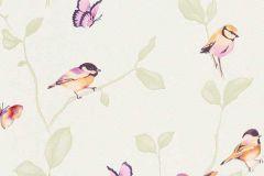 6498-04 cikkszámú tapéta.állatok,dekor tapéta ,természeti mintás,fehér,lila,narancs-terrakotta,zöld,lemosható,illesztés mentes,vlies tapéta
