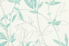 6499-18 cikkszámú tapéta.Rajzolt,retro,természeti mintás,virágmintás,ezüst,fehér,türkiz,lemosható,vlies tapéta