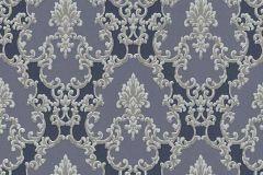 6376-08 cikkszámú tapéta.Barokk-klasszikus,csillámos,különleges felületű,ezüst,kék,szürke,lemosható,vlies tapéta
