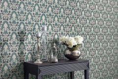 6376-18 cikkszámú tapéta.Barokk-klasszikus,csillámos,különleges felületű,gyöngyház,szürke,zöld,lemosható,vlies tapéta