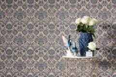 6378-11 cikkszámú tapéta.Barokk-klasszikus,különleges felületű,barna,kék,szürke,lemosható,vlies tapéta