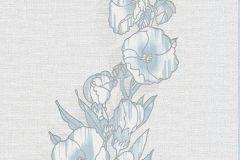 6433-08 cikkszámú tapéta.Virágmintás,kék,szürke,lemosható,illesztés mentes,vlies tapéta