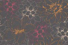 5425-04 cikkszámú tapéta.Különleges felületű,virágmintás,csillámos,barna,bézs-drapp,narancs-terrakotta,pink-rózsaszín,lemosható,vlies tapéta