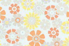 6448-04 cikkszámú tapéta.Csillámos,retro,virágmintás,bézs-drapp,narancs-terrakotta,sárga,vajszín,lemosható,vlies tapéta
