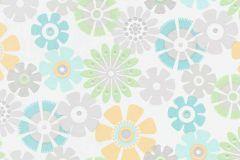 6448-07 cikkszámú tapéta.Csillámos,virágmintás,fehér,kék,narancs-terrakotta,szürke,zöld,lemosható,vlies tapéta