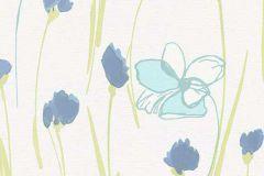 6453-08 cikkszámú tapéta.Virágmintás,fehér,kék,zöld,lemosható,vlies tapéta