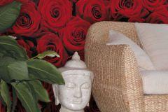 4-077 cikkszámú tapéta.Virágmintás,fekete,piros-bordó,gyengén mosható,papír poszter, fotótapéta