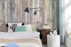 4-910 cikkszámú tapéta.Fa hatású-fa mintás,bézs-drapp,fehér,kék,narancs-terrakotta,sárga,türkiz,zöld,gyengén mosható,papír poszter, fotótapéta