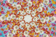 4-969 cikkszámú tapéta.Virágmintás,fehér,kék,pink-rózsaszín,piros-bordó,sárga,gyengén mosható,papír poszter, fotótapéta